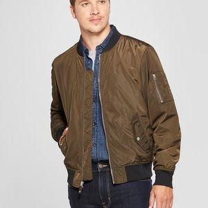 Goodfellow Matte Bomber Jacket Zip Up Green Size S